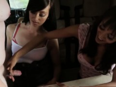 Teen duo and milf make a...
